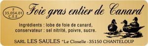 Etiquette de foie gras modèle E139